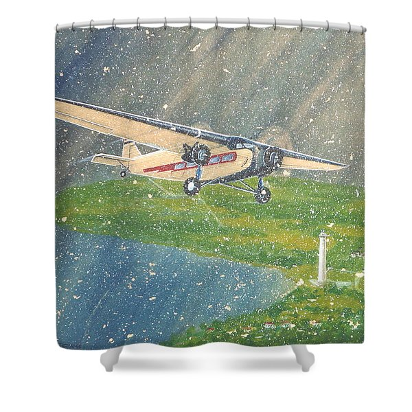 Island Airlines Ford Trimotor Over Put-in-bay In The Winter Shower Curtain