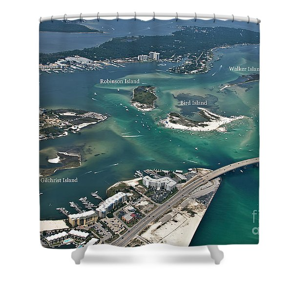 Islands Of Perdido - Labeled Shower Curtain