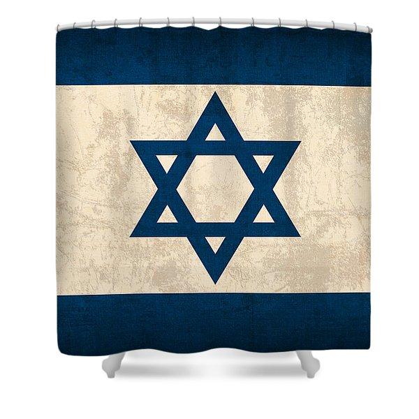 Israel Flag Vintage Distressed Finish Shower Curtain
