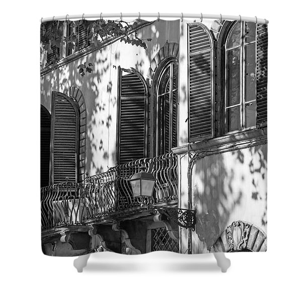 Italian Facade In Bw Shower Curtain