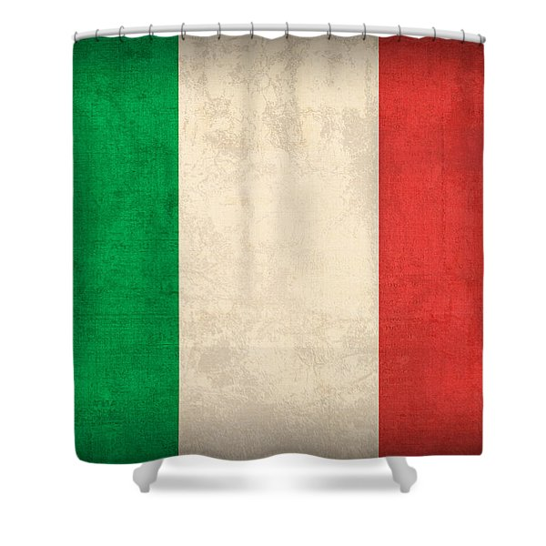 Italy Flag Vintage Distressed Finish Shower Curtain