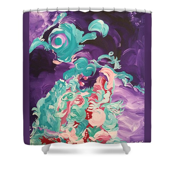 Owl And Dolphin Space Meeting Shower Curtain