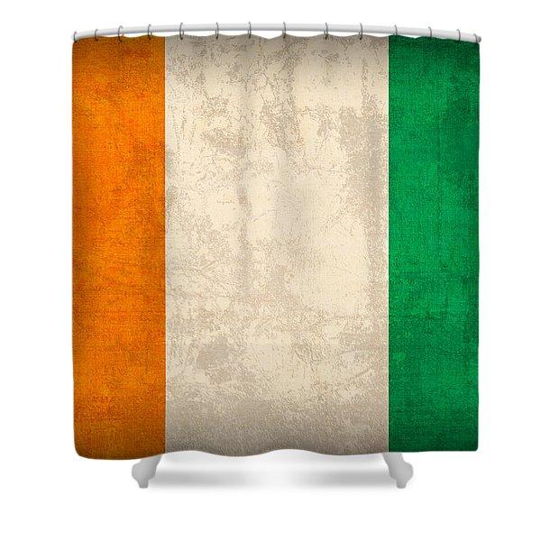 Ivory Coast Cote Divoire Flag Vintage Distressed Finish Shower Curtain