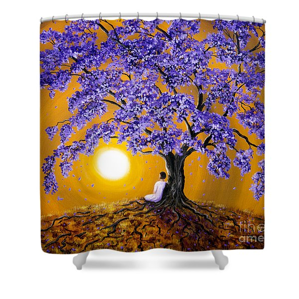 Jacaranda Sunset Meditation Shower Curtain