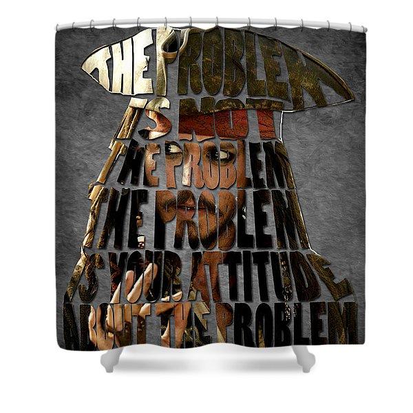 Jack Sparrow Quote Portrait Typography Artwork Shower Curtain