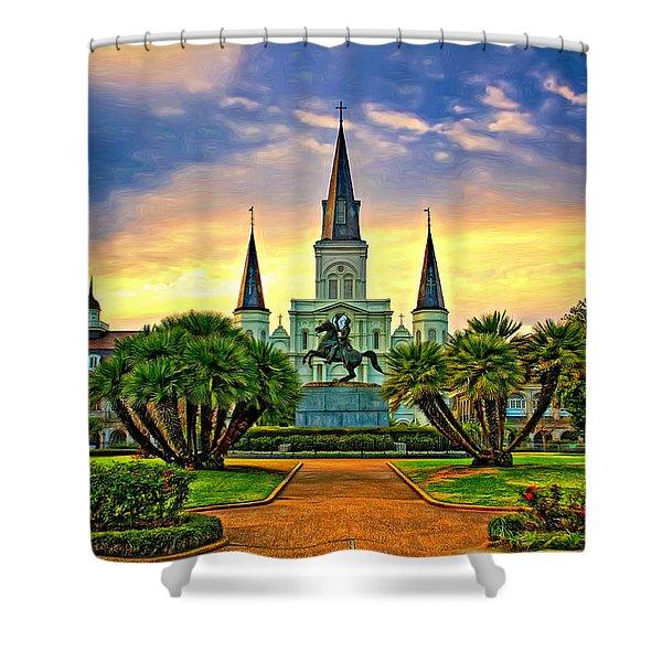 Jackson Square Evening - Paint Shower Curtain