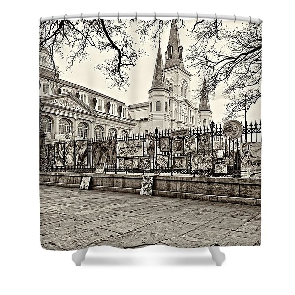Jackson Square Winter Sepia Shower Curtain