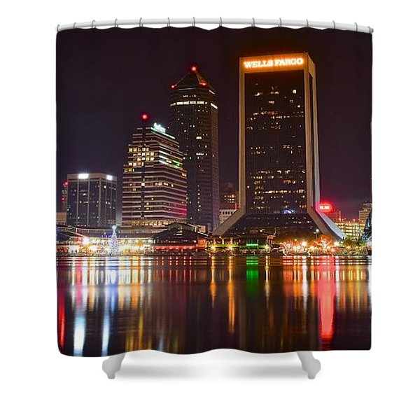 Jacksonville Aglow Shower Curtain