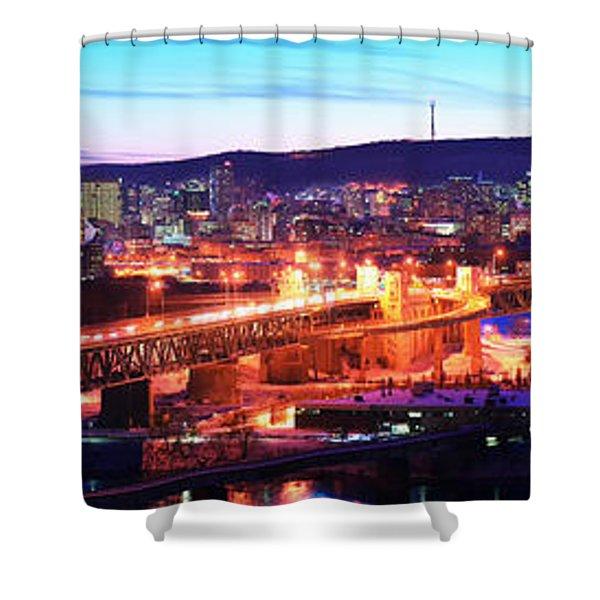 Jacques Cartier Bridge With City Lit Shower Curtain