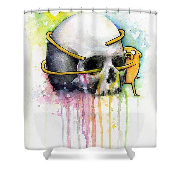 Jake The Dog Hugging Skull Adventure Time Art Shower Curtain