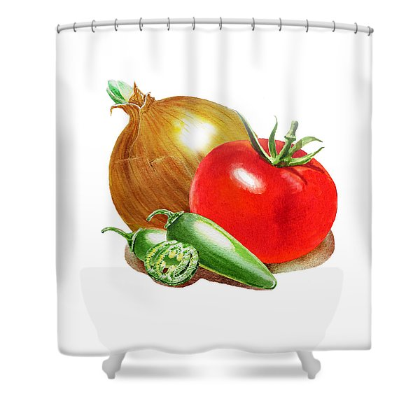 Jalapeno Onion Tomato Shower Curtain