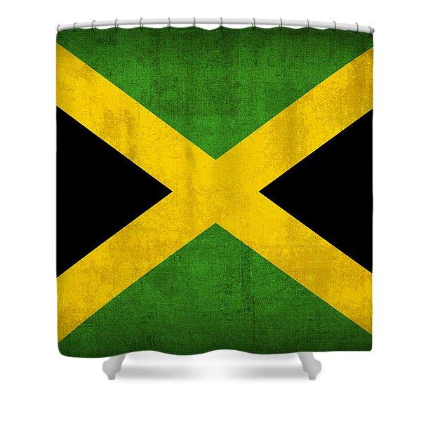 Jamaica Flag Vintage Distressed Finish Shower Curtain