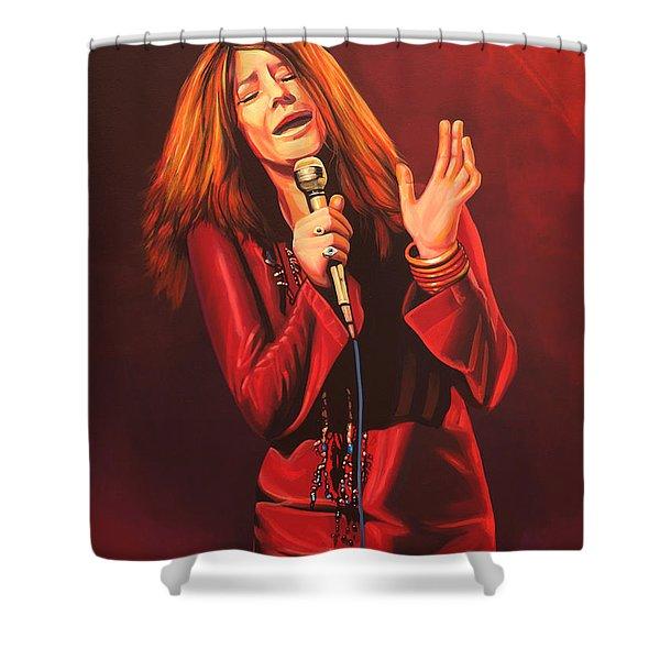 Janis Joplin Painting Shower Curtain