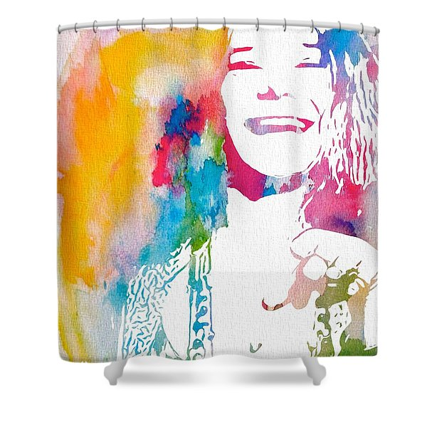 Janis Joplin Watercolor Shower Curtain