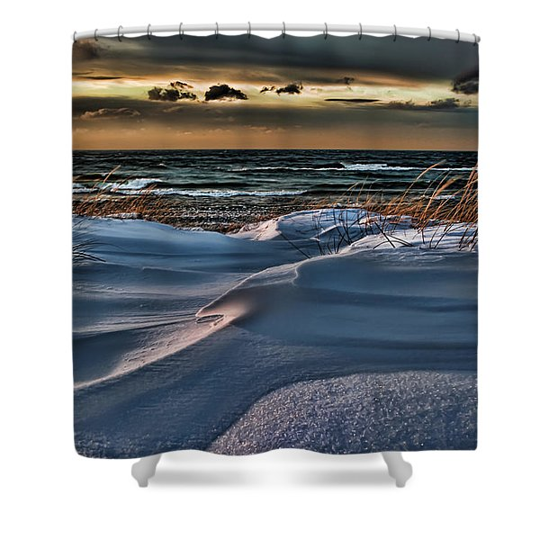 January Saugatuck Blues Michigan Shower Curtain