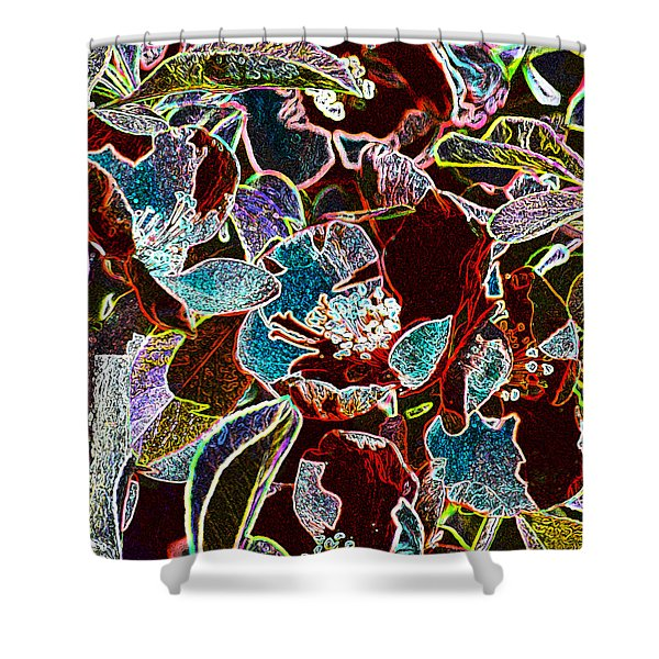 Japanese Quince In Abstract Shower Curtain