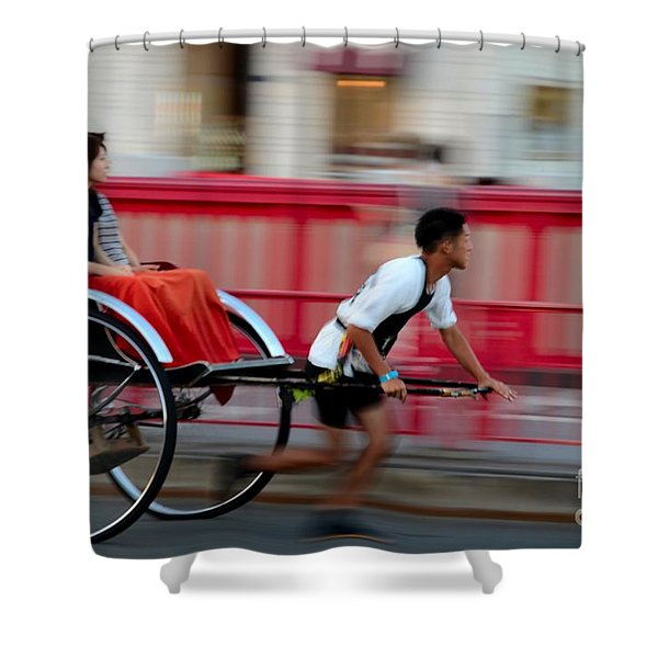 Japanese Tourists Ride Rickshaw In Tokyo Japan Shower Curtain