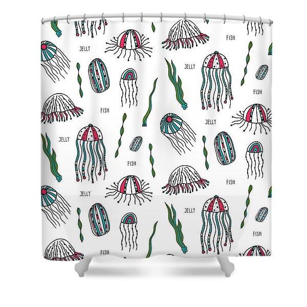 Jellyfish Repeat Print Shower Curtain