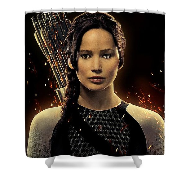 Jennifer Lawrence As Katniss Everdeen Shower Curtain