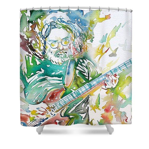 Jerry Garcia Playing The Guitar Watercolor Portrait.1 Shower Curtain