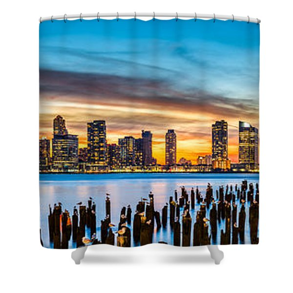 Jersey City Panorama At Sunset Shower Curtain
