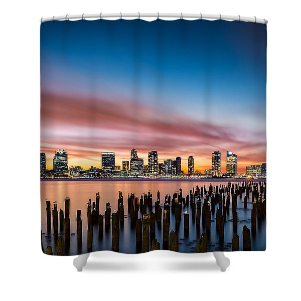 Jersey City Skyline At Sunset Shower Curtain