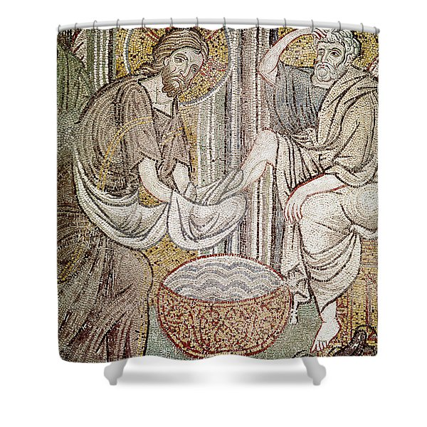 Jesus And Saint Peter, Detail From Jesus Washing The Feet Of The Apostle Mosaic Shower Curtain
