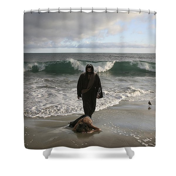 Jesus Christ- I Love You So Much Don't Cry I'm Here Shower Curtain