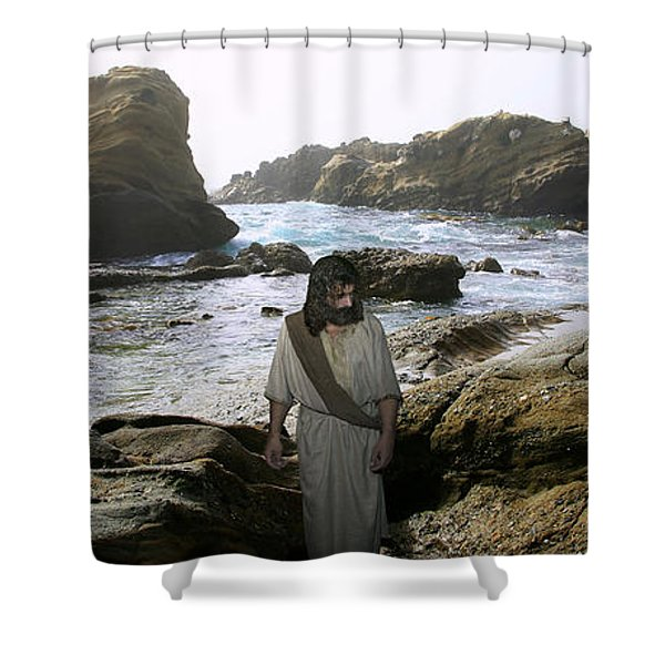 Jesus Christ- In The Company Of Angels Shower Curtain
