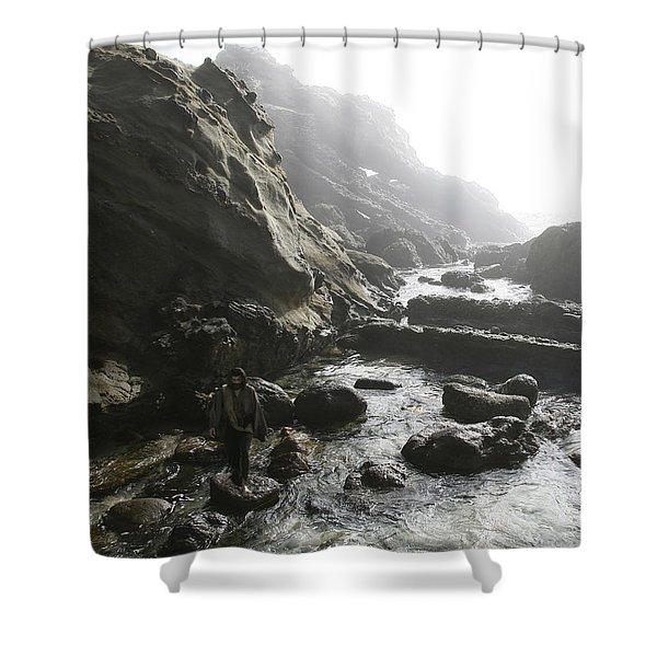 Jesus Christ- In The Presence Of Angels Shower Curtain