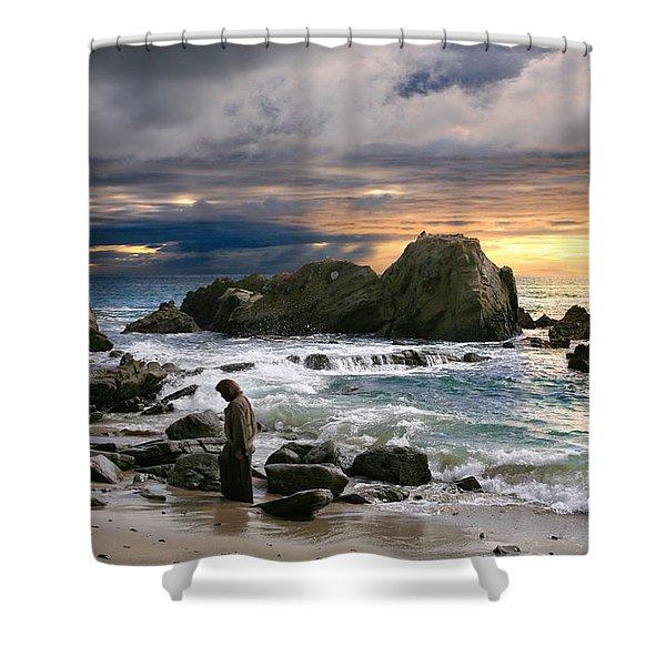 Jesus' Sunset Shower Curtain