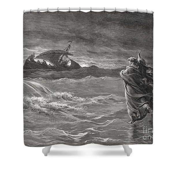 Jesus Walking On The Sea John 6 19 21 Shower Curtain