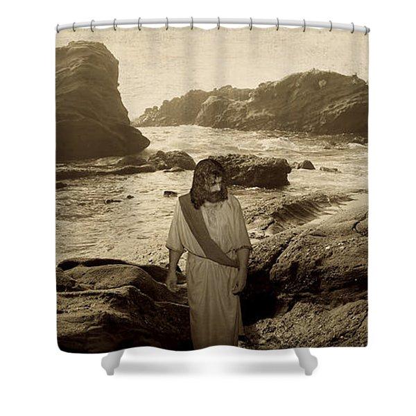 Jesus Walks Among Angels Shower Curtain