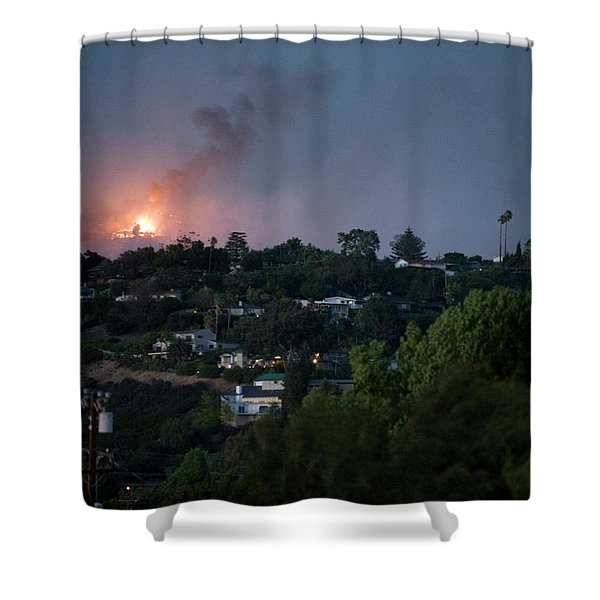 Jesusita Wildfire Burn In The Distance Shower Curtain