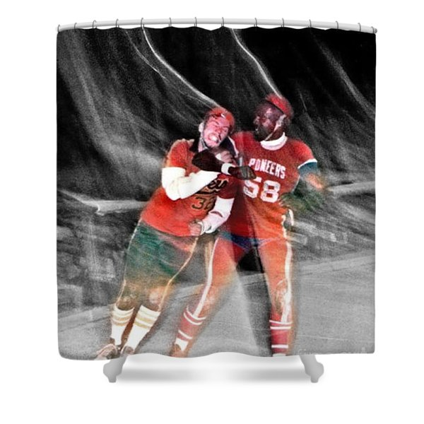 Jim Fitzpatrick Vs Charles Gipson Battling In Old School Roller Derby With The Sf Bay Bombers II Shower Curtain
