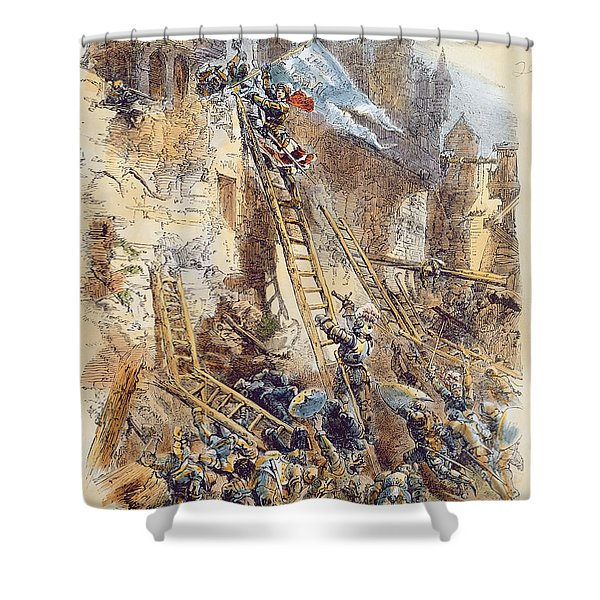 Joan Of Arc At The Assault Of The Tournelles Colour Litho Shower Curtain