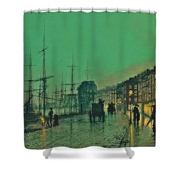 John Atkinson Grimshaw Shipping On The Clyde 1881 Shower Curtain