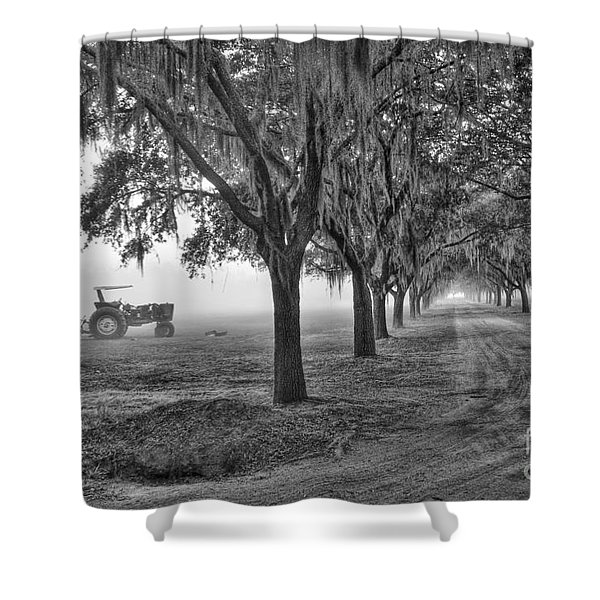 John Deer Tractor And The Avenue Of Oaks Shower Curtain