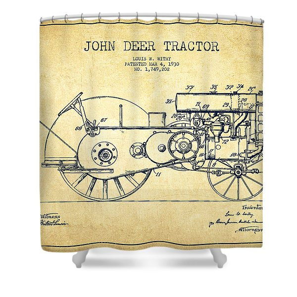 John Deer Tractor Patent Drawing From 1930 - Vintage Shower Curtain