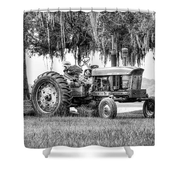 John Deer Tractor Under The Old Cedar Shower Curtain