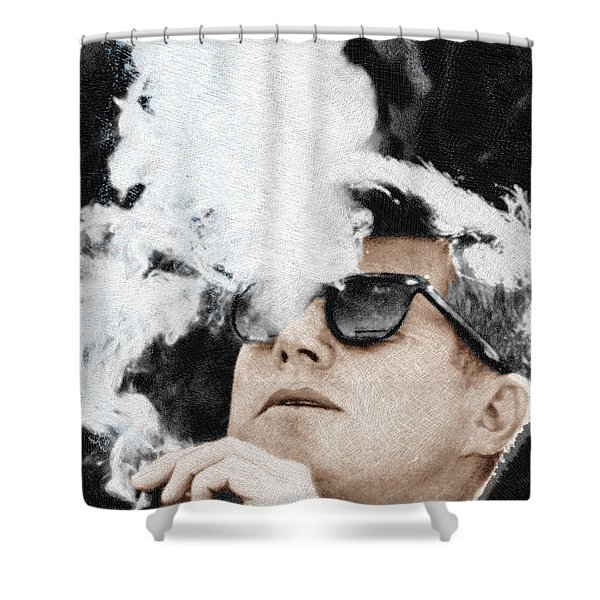 John F Kennedy Cigar And Sunglasses Shower Curtain