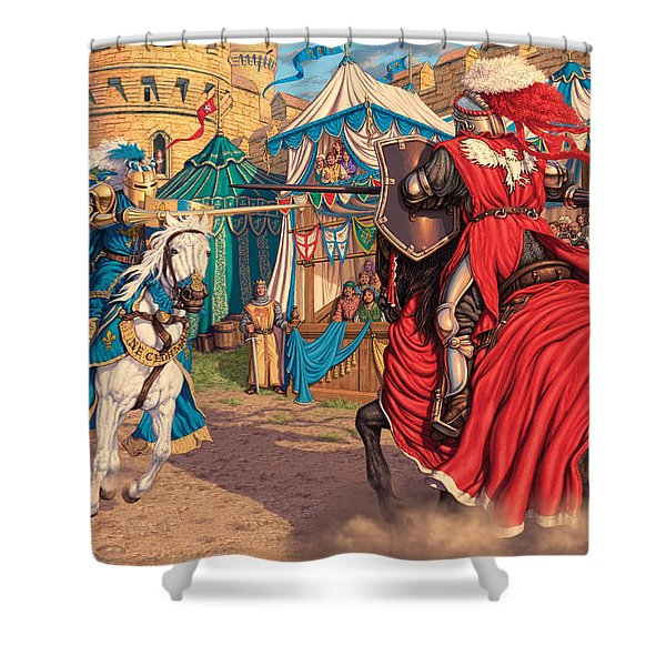 Jousting Knights Variant 1 Shower Curtain