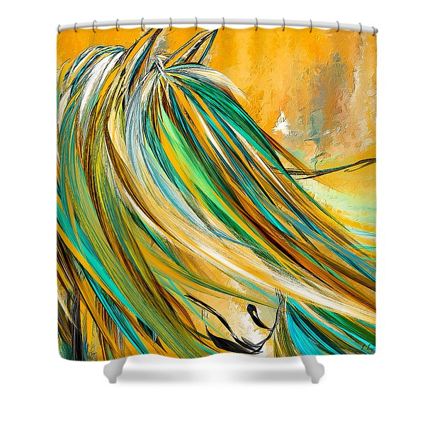 Joyous Soul- Yellow And Turquoise Artwork Shower Curtain