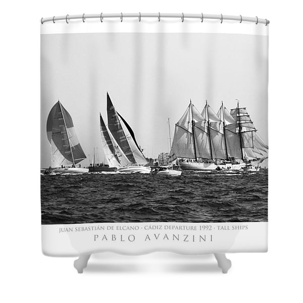 Juan Sebastian Elcano Departing The Port Of Cadiz Shower Curtain