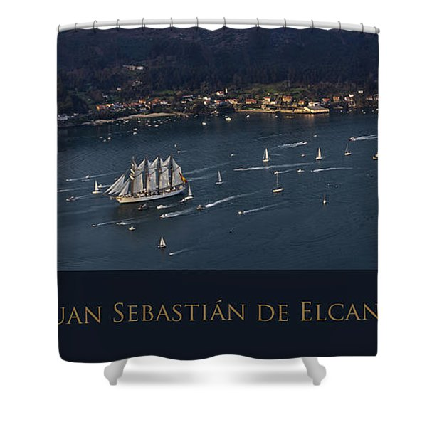 Juan Sebastian Elcano Departing The Port Of Ferrol Shower Curtain