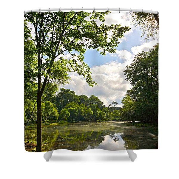 July Fourth Duck Pond With Goose Shower Curtain