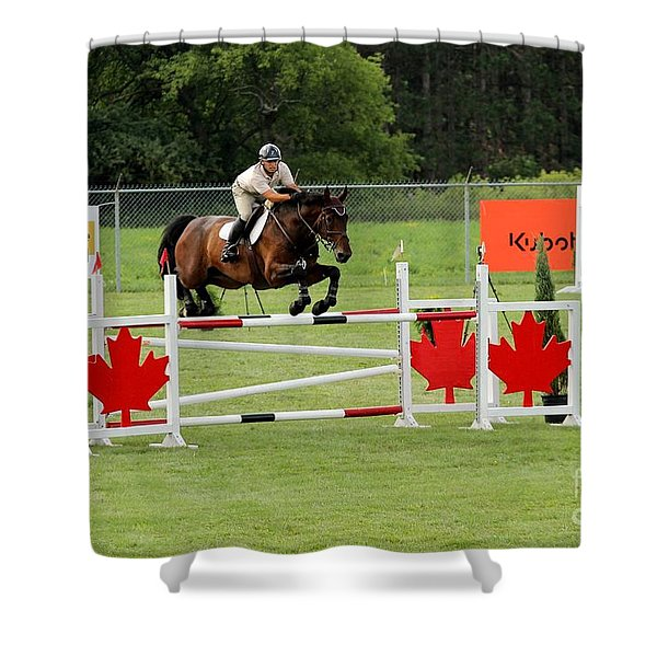 Jumping Canadian Fence Shower Curtain