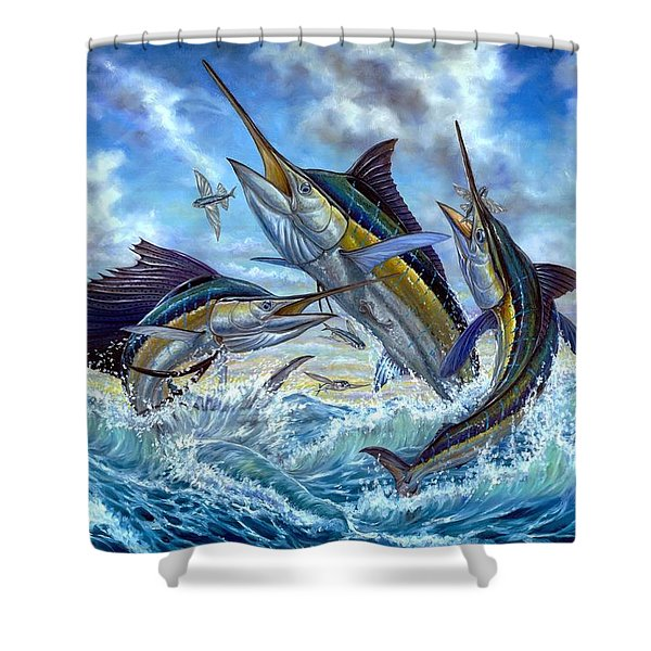 Jumping Grand Slam And Flyingfish Shower Curtain