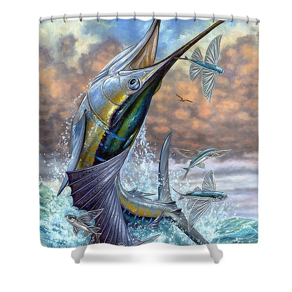 Jumping Sailfish And Flying Fishes Shower Curtain