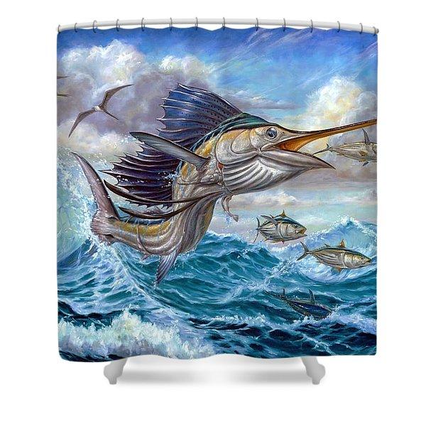 Jumping Sailfish And Small Fish Shower Curtain